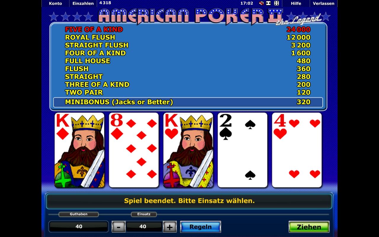 Poker Gewinntabelle